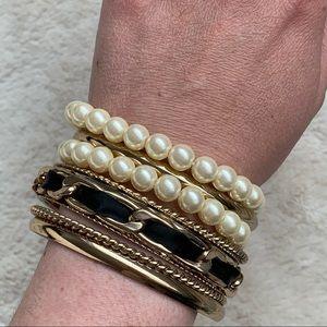 Aldo gold and pearls bracelets